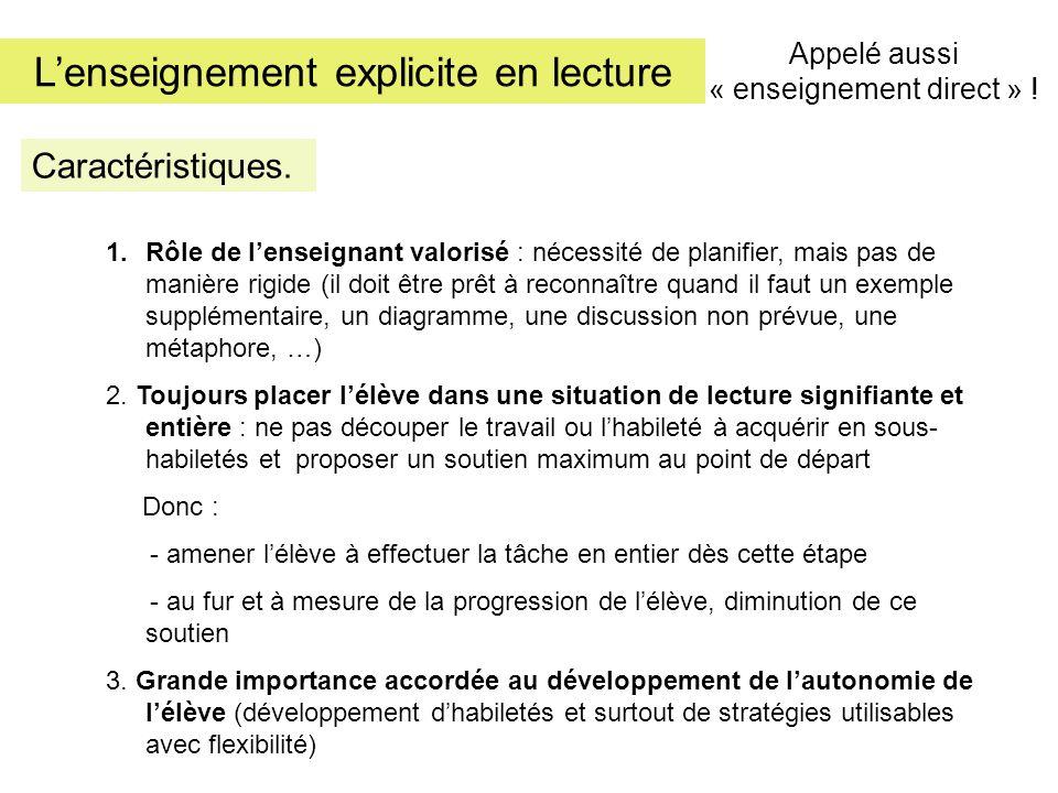 Lenseignement explicite en lecture Etapes.