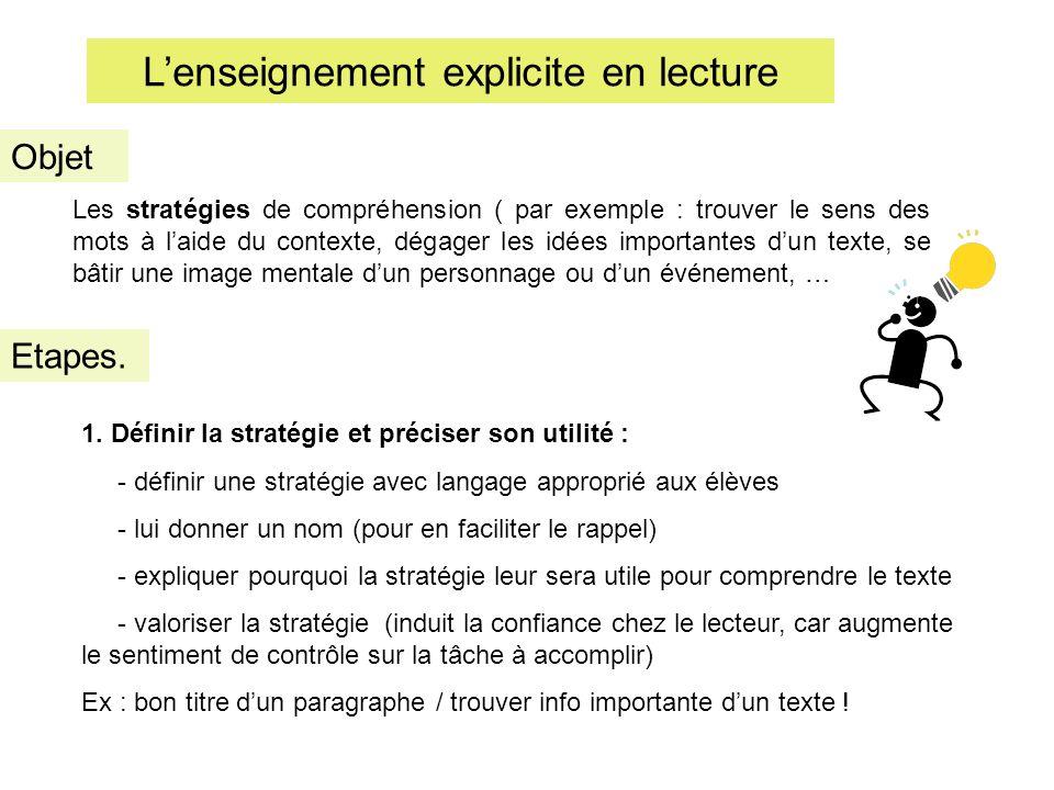 Lenseignement explicite en lecture Etapes. Objet Les stratégies de compréhension ( par exemple : trouver le sens des mots à laide du contexte, dégager