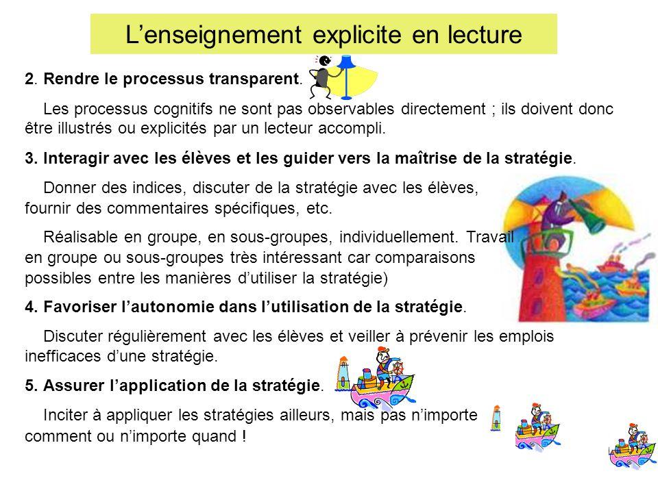 Lenseignement explicite en lecture 2. Rendre le processus transparent. Les processus cognitifs ne sont pas observables directement ; ils doivent donc