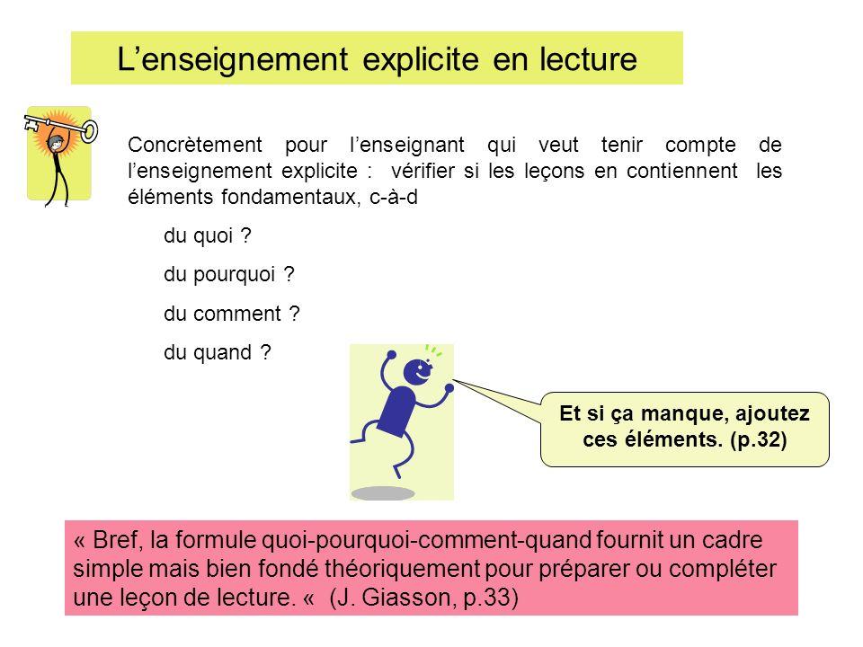 Lenseignement explicite en lecture Concrètement pour lenseignant qui veut tenir compte de lenseignement explicite : vérifier si les leçons en contienn