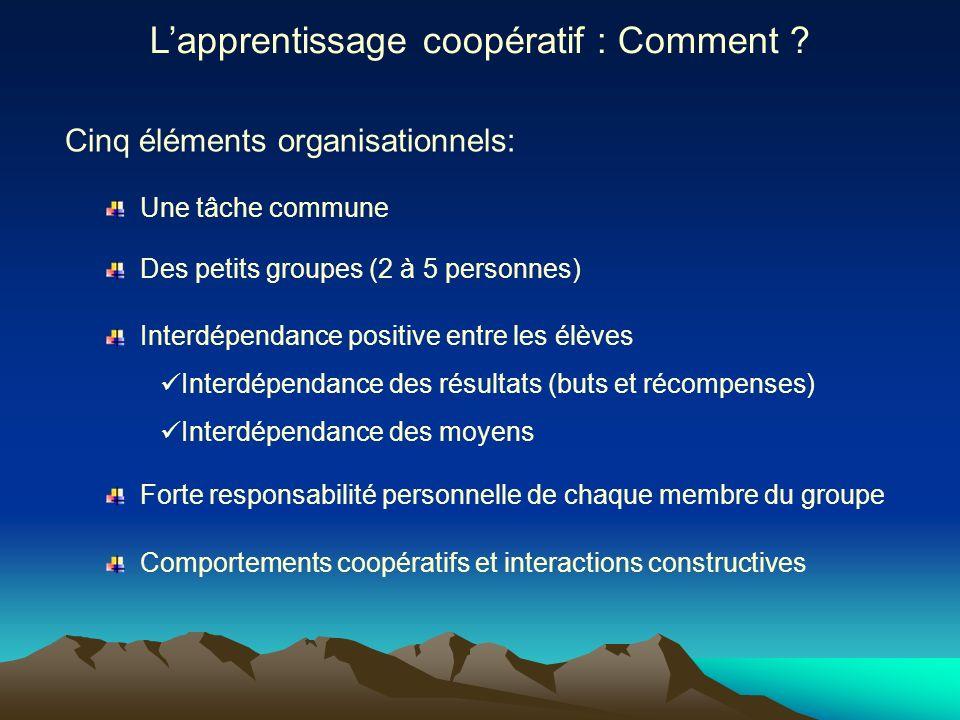 Cinq éléments organisationnels: Une tâche commune Lapprentissage coopératif : Comment ? Des petits groupes (2 à 5 personnes) Interdépendance positive
