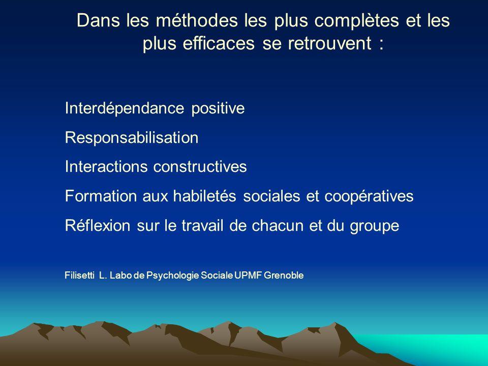 Dans les méthodes les plus complètes et les plus efficaces se retrouvent : Interdépendance positive Responsabilisation Interactions constructives Form