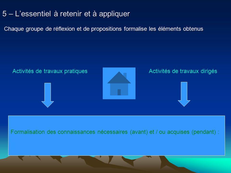 5 – Lessentiel à retenir et à appliquer Chaque groupe de réflexion et de propositions formalise les éléments obtenus Activités de travaux pratiques Ac