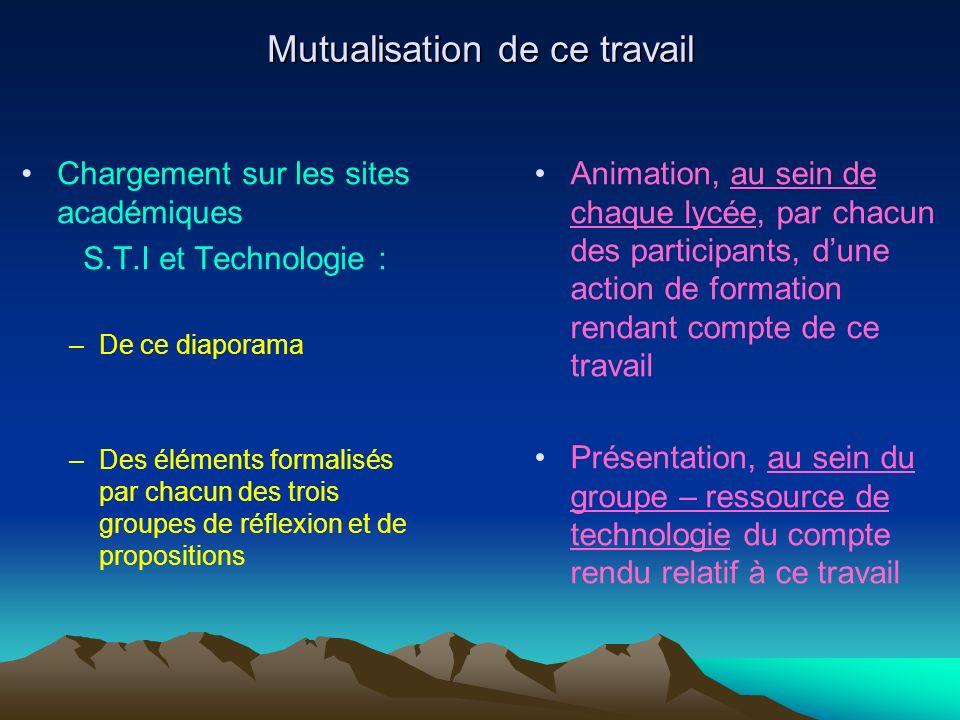 Mutualisation de ce travail Chargement sur les sites académiques S.T.I et Technologie : –De ce diaporama –Des éléments formalisés par chacun des trois