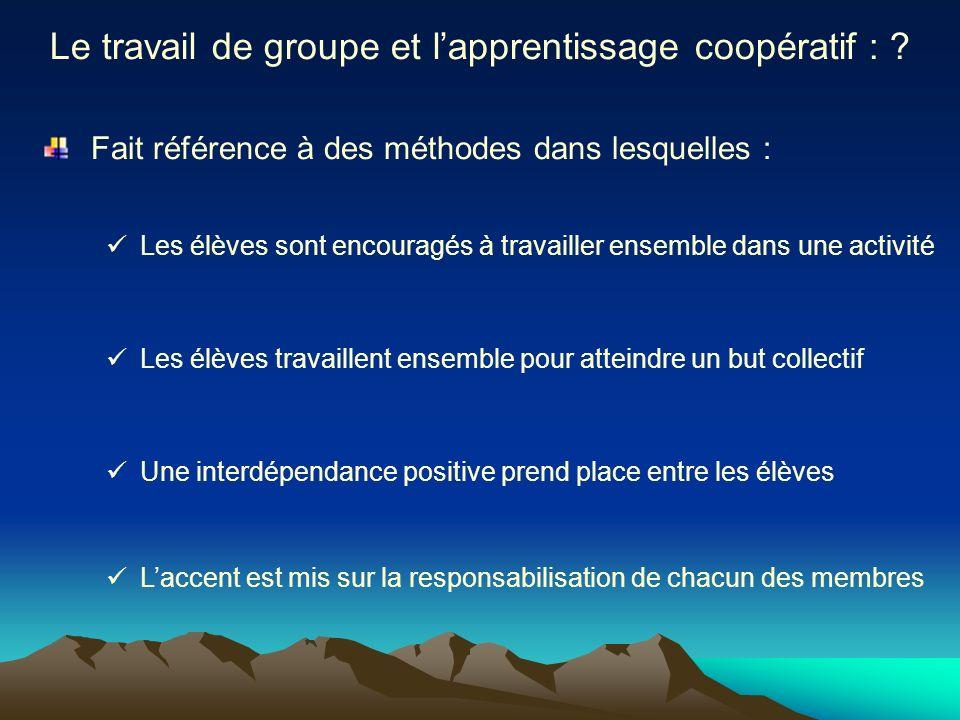 Le travail de groupe et lapprentissage coopératif : ? Fait référence à des méthodes dans lesquelles : Les élèves sont encouragés à travailler ensemble