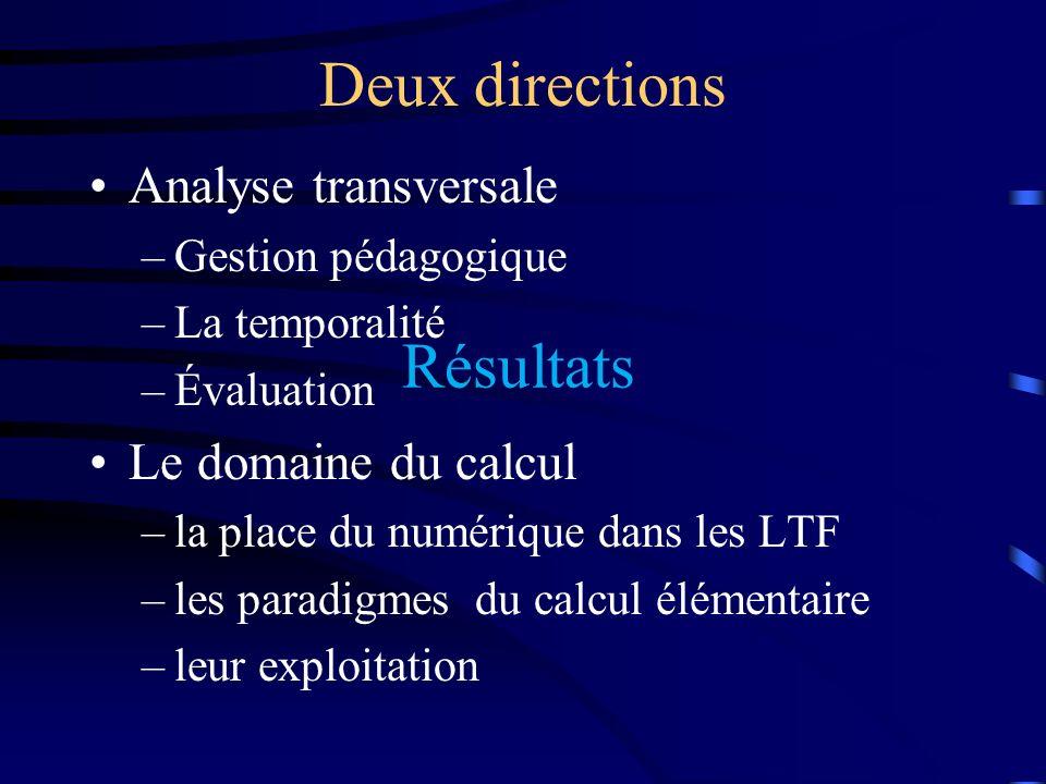 Analyse transversale –Gestion pédagogique –La temporalité –Évaluation Le domaine du calcul –la place du numérique dans les LTF –les paradigmes du calc