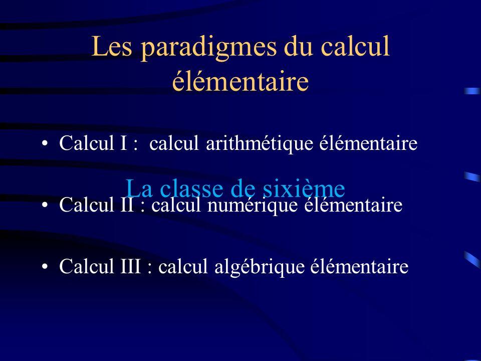 Les paradigmes du calcul élémentaire Calcul I : calcul arithmétique élémentaire Calcul II : calcul numérique élémentaire Calcul III : calcul algébriqu