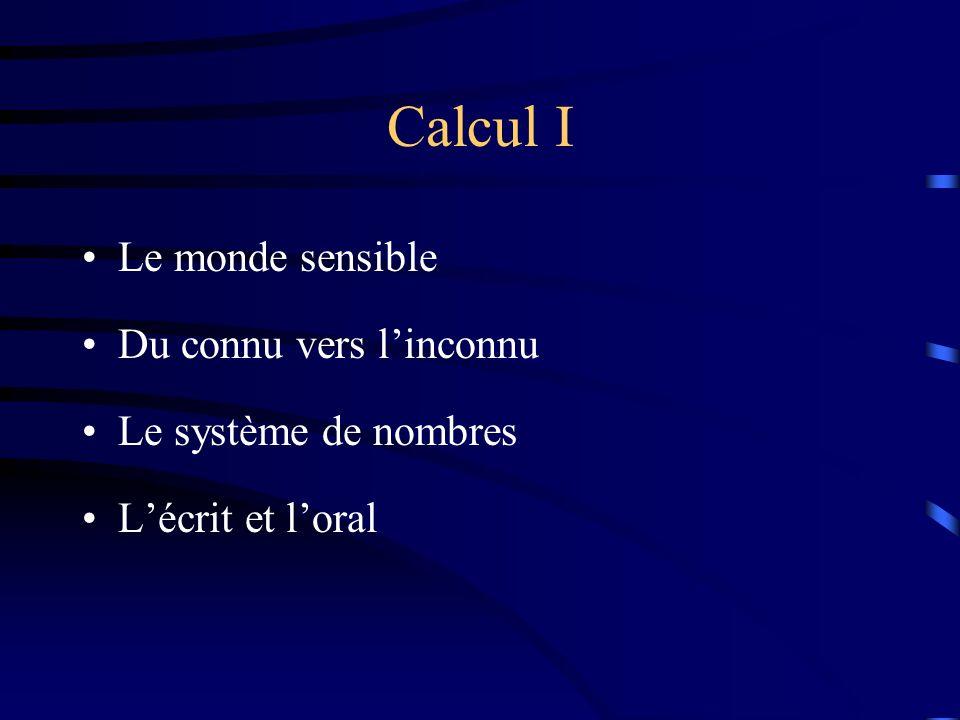 Calcul I Le monde sensible Du connu vers linconnu Le système de nombres Lécrit et loral
