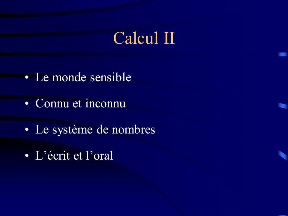 Calcul II Le monde sensible Connu et inconnu Le système de nombres Lécrit et loral