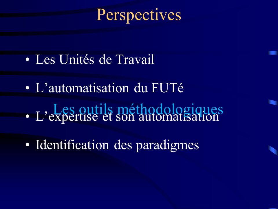 Perspectives Les Unités de Travail Lautomatisation du FUTé Lexpertise et son automatisation Identification des paradigmes Les outils méthodologiques