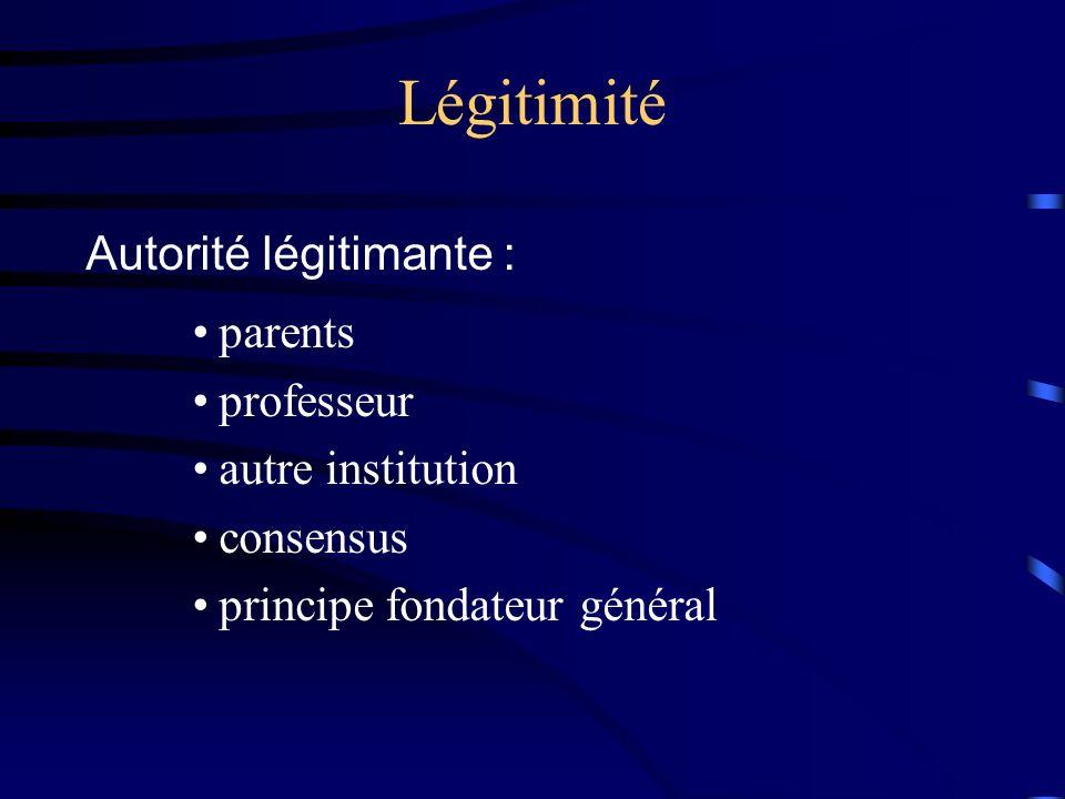 Légitimité Autorité légitimante : parents professeur autre institution consensus principe fondateur général
