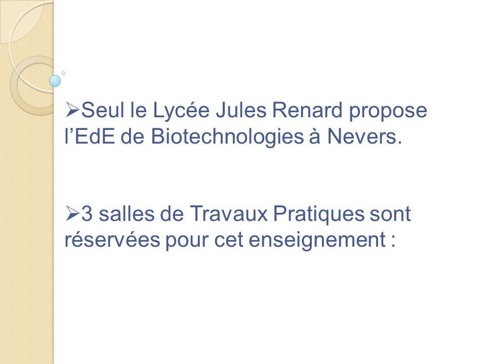 Seul le Lycée Jules Renard propose lEdE de Biotechnologies à Nevers. 3 salles de Travaux Pratiques sont réservées pour cet enseignement :