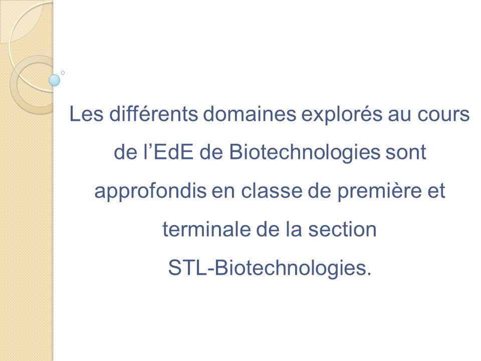 Les différents domaines explorés au cours de lEdE de Biotechnologies sont approfondis en classe de première et terminale de la section STL-Biotechnolo