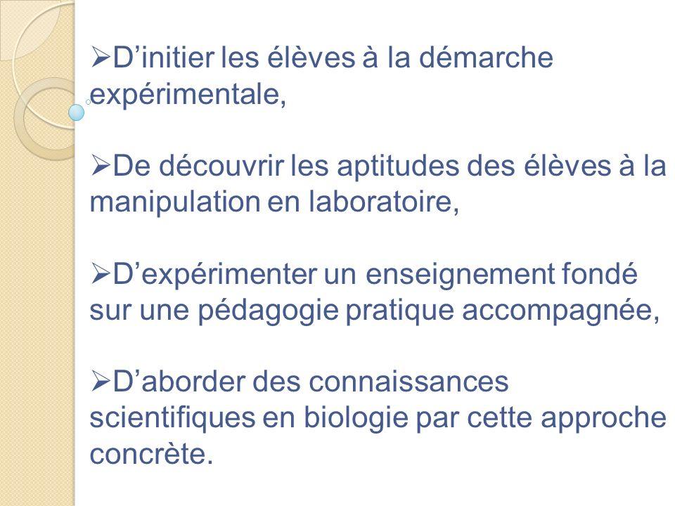 Dinitier les élèves à la démarche expérimentale, De découvrir les aptitudes des élèves à la manipulation en laboratoire, Dexpérimenter un enseignement