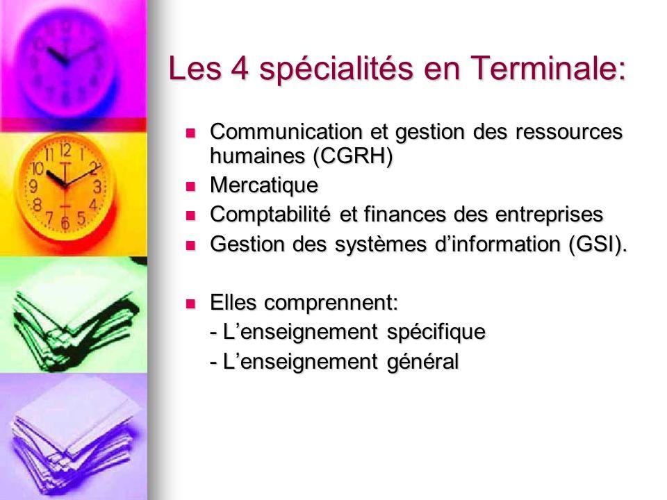 Les 4 spécialités en Terminale: Communication et gestion des ressources humaines (CGRH) Communication et gestion des ressources humaines (CGRH) Mercatique Mercatique Comptabilité et finances des entreprises Comptabilité et finances des entreprises Gestion des systèmes dinformation (GSI).