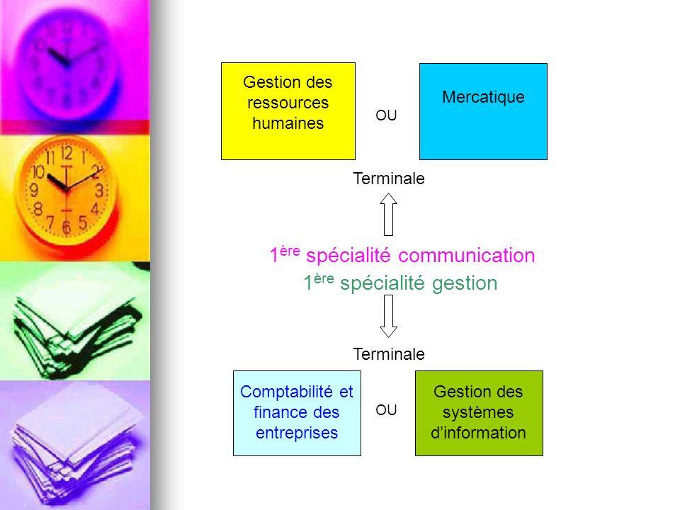 Gestion des ressources humaines Mercatique 1 ère spécialité communication 1 ère spécialité gestion Comptabilité et finance des entreprises Gestion des systèmes dinformation OU Terminale