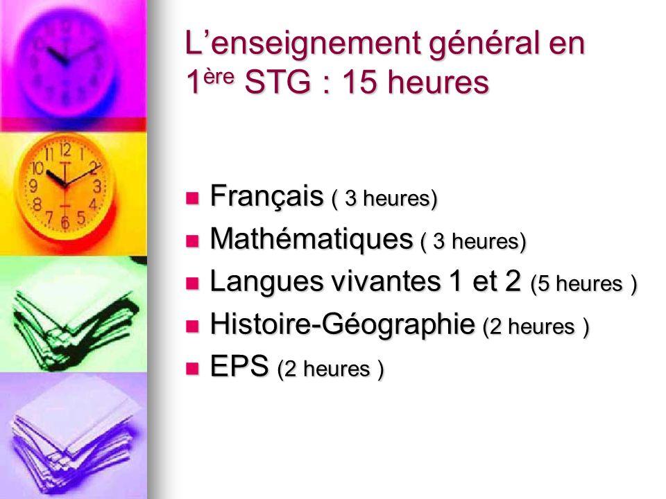 Lenseignement général en 1 ère STG : 15 heures Français ( 3 heures) Français ( 3 heures) Mathématiques ( 3 heures) Mathématiques ( 3 heures) Langues vivantes 1 et 2 (5 heures ) Langues vivantes 1 et 2 (5 heures ) Histoire-Géographie (2 heures ) Histoire-Géographie (2 heures ) EPS (2 heures ) EPS (2 heures )