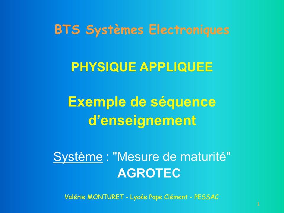1 BTS Systèmes Electroniques PHYSIQUE APPLIQUEE Exemple de séquence denseignement Système :
