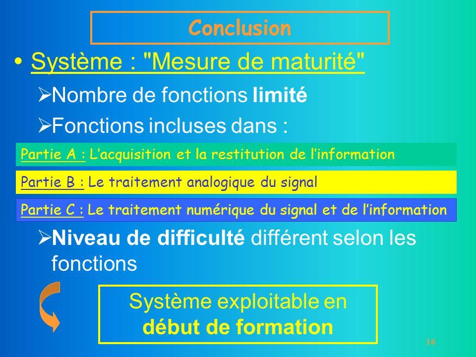 16 Conclusion Système :