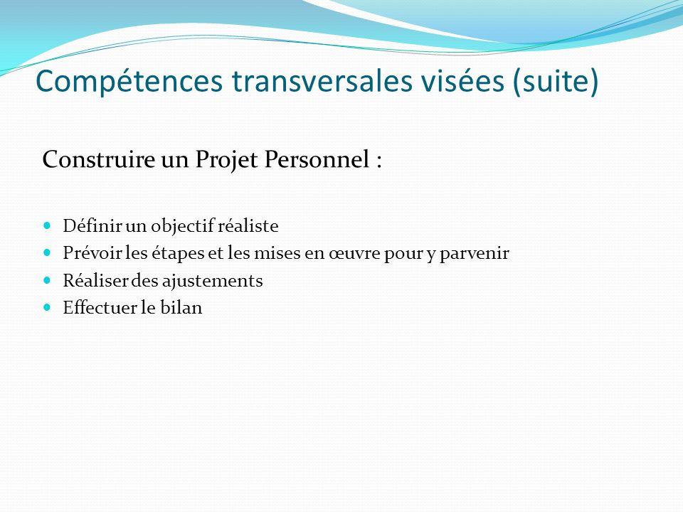 Compétences transversales visées (suite) Construire un Projet Personnel : Définir un objectif réaliste Prévoir les étapes et les mises en œuvre pour y