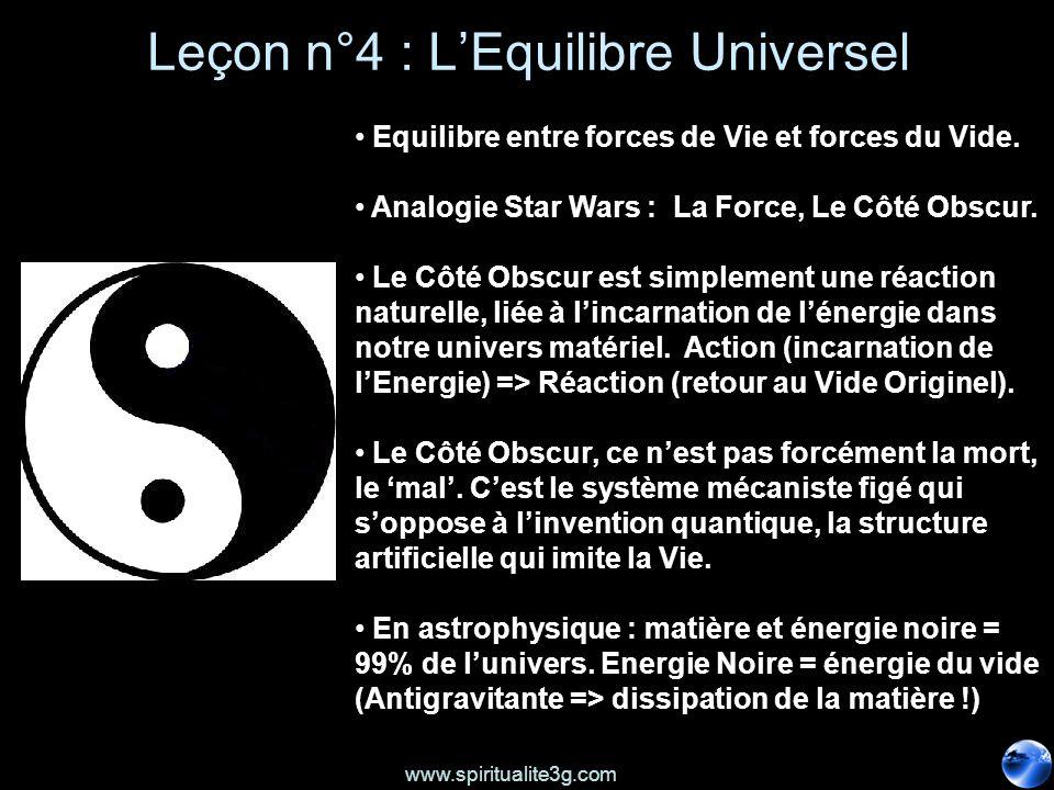 www.spiritualite3g.com Leçon n°4 : LEquilibre Universel Equilibre entre forces de Vie et forces du Vide. Analogie Star Wars : La Force, Le Côté Obscur