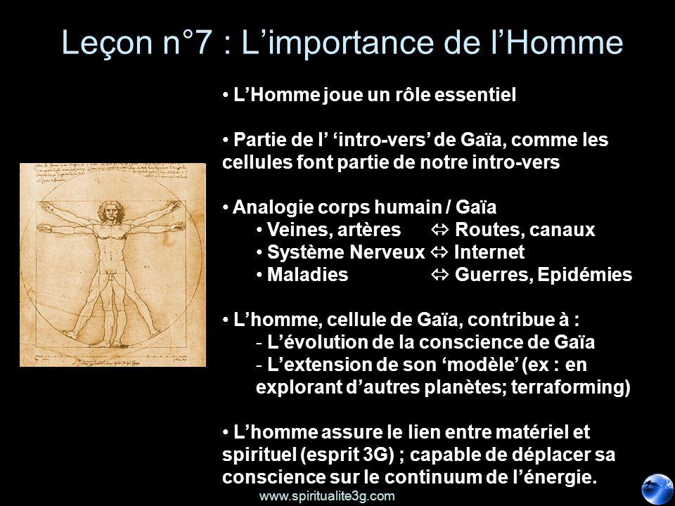 www.spiritualite3g.com Leçon n°7 : Limportance de lHomme LHomme joue un rôle essentiel Partie de l intro-vers de Gaïa, comme les cellules font partie