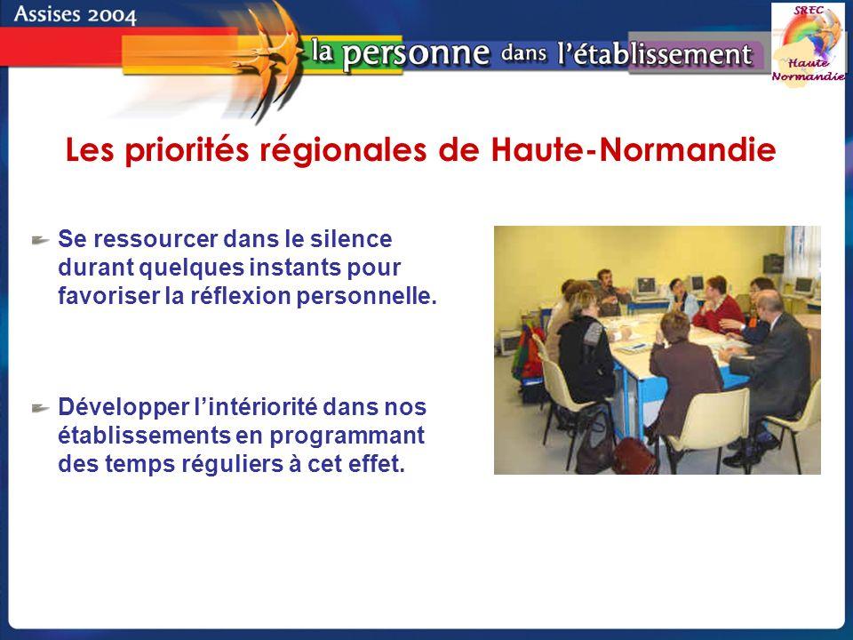 Groupe de pilotage - SREC Haute-Normandie Se ressourcer dans le silence durant quelques instants pour favoriser la réflexion personnelle.