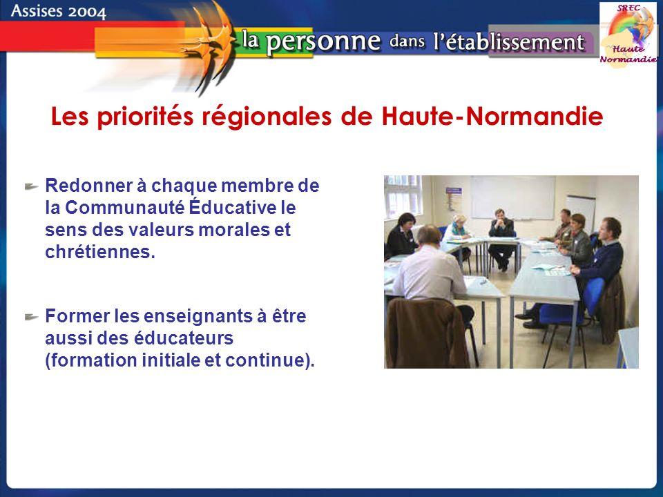 Groupe de pilotage - SREC Haute-Normandie Redonner à chaque membre de la Communauté Éducative le sens des valeurs morales et chrétiennes.