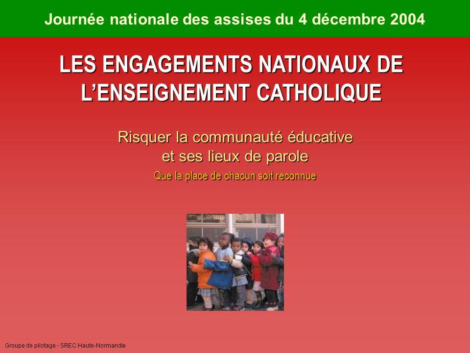 Groupe de pilotage - SREC Haute-Normandie Journée nationale des assises du 4 décembre 2004 LES ENGAGEMENTS NATIONAUX DE LENSEIGNEMENT CATHOLIQUE Risquer la communauté éducative et ses lieux de parole Que la place de chacun soit reconnue