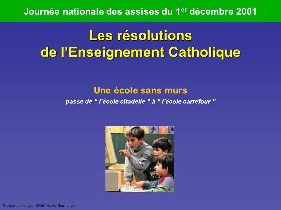 Groupe de pilotage - SREC Haute-Normandie Journée nationale des assises du 1 er décembre 2001 Une école pour toute la vie relie épanouissement personnel et développement à chaque étape de la vie Les résolutions de lEnseignement Catholique