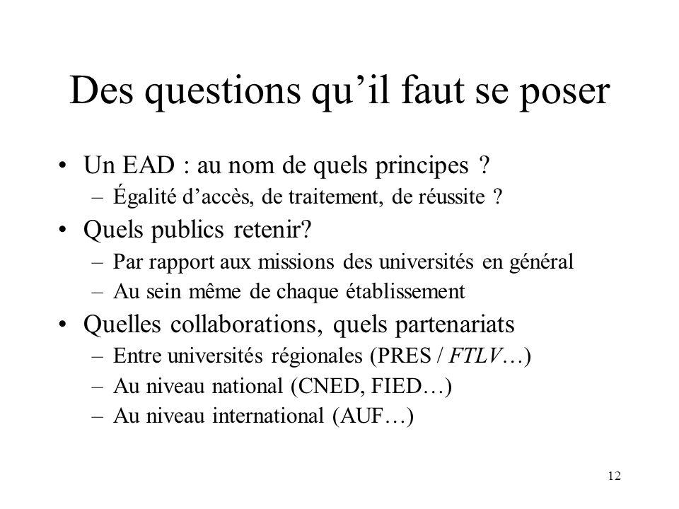 12 Des questions quil faut se poser Un EAD : au nom de quels principes ? –Égalité daccès, de traitement, de réussite ? Quels publics retenir? –Par rap