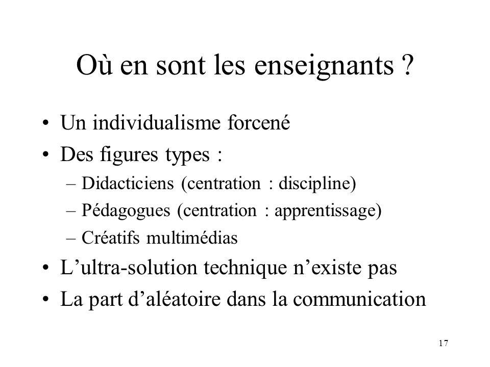 17 Où en sont les enseignants ? Un individualisme forcené Des figures types : –Didacticiens (centration : discipline) –Pédagogues (centration : appren