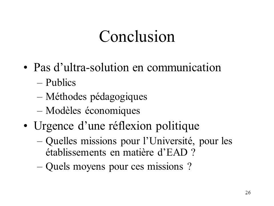 26 Conclusion Pas dultra-solution en communication –Publics –Méthodes pédagogiques –Modèles économiques Urgence dune réflexion politique –Quelles miss