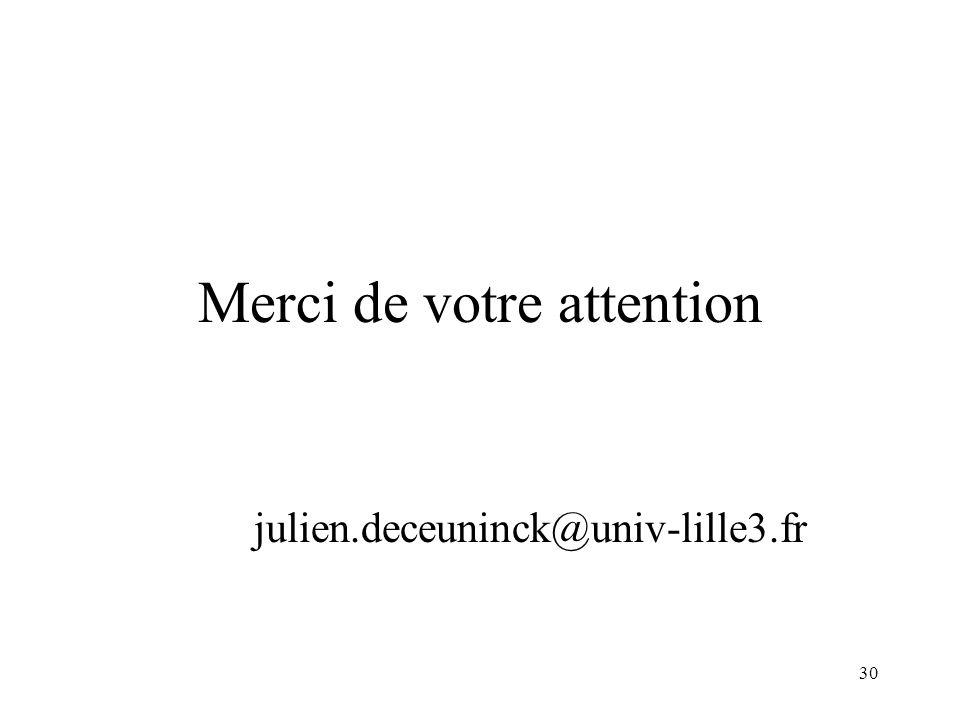 30 Merci de votre attention julien.deceuninck@univ-lille3.fr