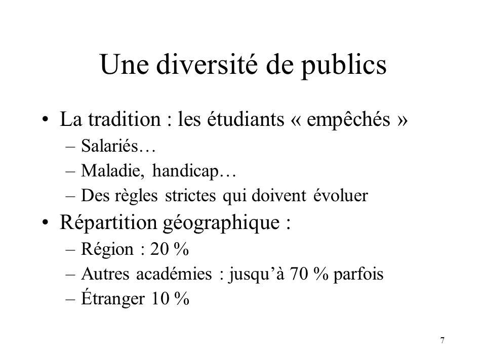 7 Une diversité de publics La tradition : les étudiants « empêchés » –Salariés… –Maladie, handicap… –Des règles strictes qui doivent évoluer Répartiti