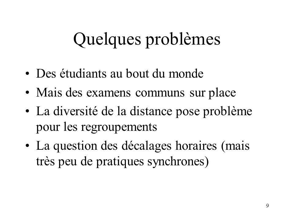 9 Quelques problèmes Des étudiants au bout du monde Mais des examens communs sur place La diversité de la distance pose problème pour les regroupement