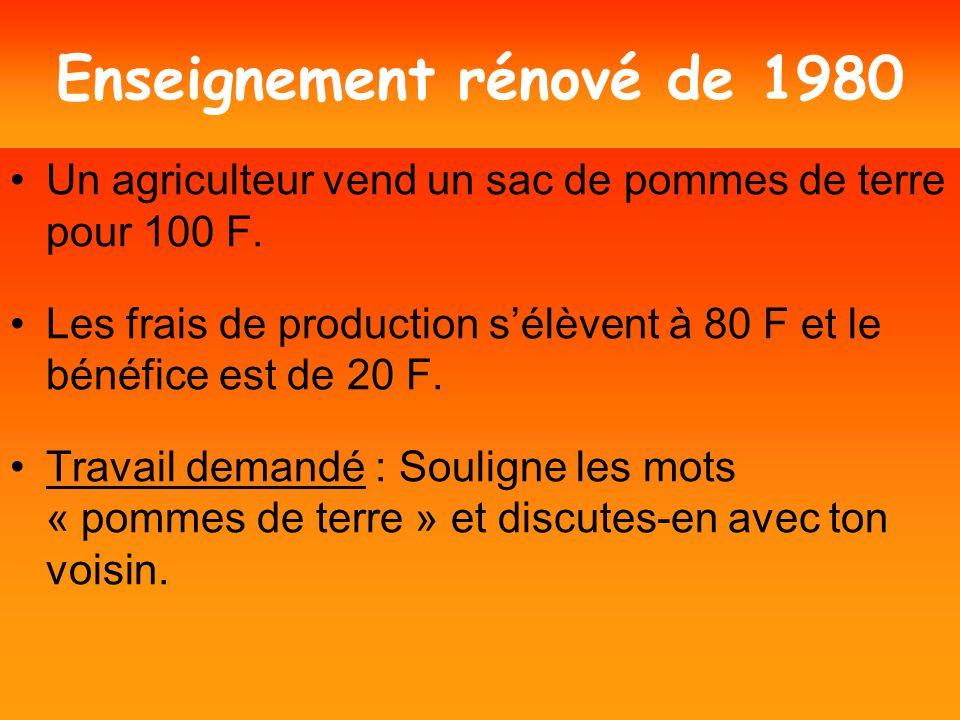 Enseignement moderne 1970 (réforme de lenseignement) Un paysan échange un ensemble P de pommes de terre contre un ensemble M de pièces de monnaie.