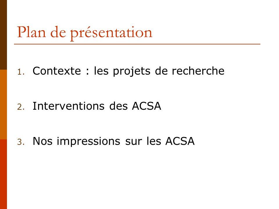 Plan de présentation 1.Contexte : les projets de recherche 2.