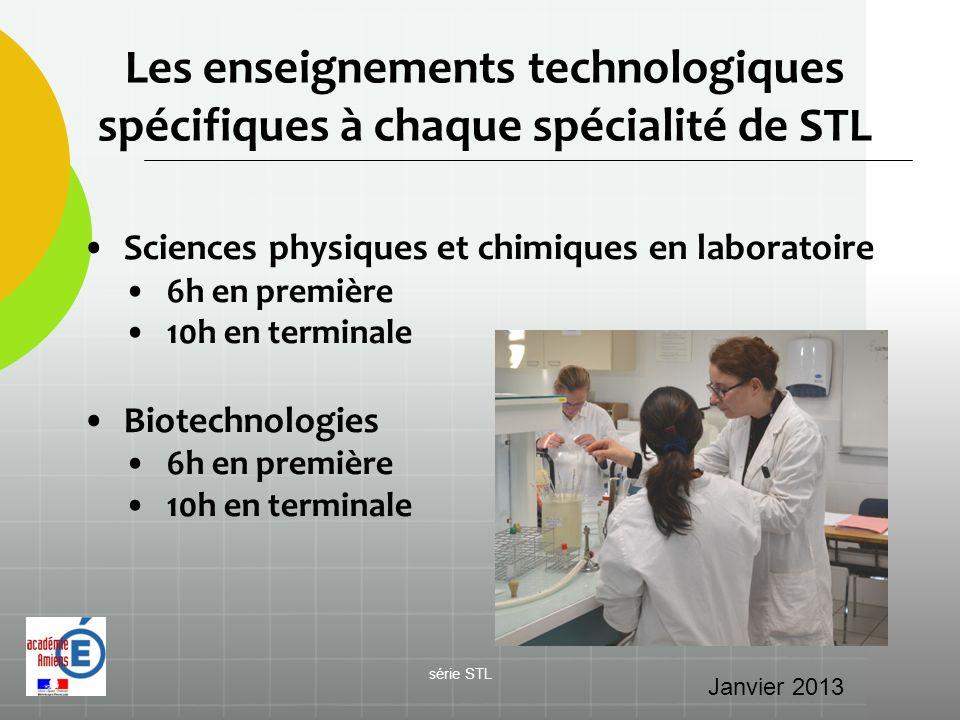 Les enseignements technologiques spécifiques à chaque spécialité de STL Sciences physiques et chimiques en laboratoire 6h en première 10h en terminale