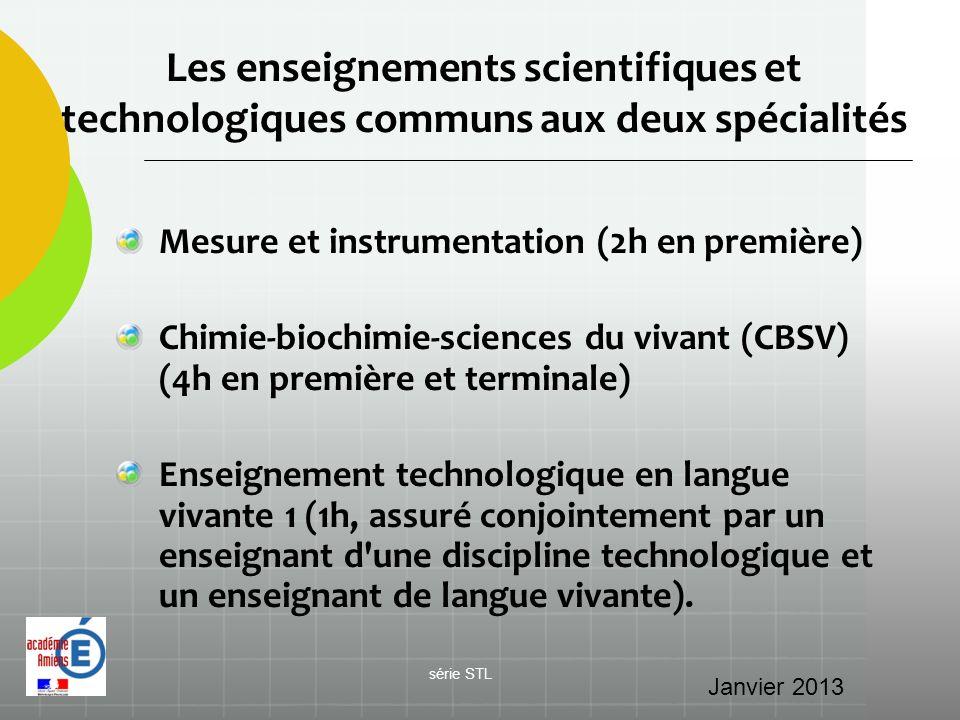 Les enseignements scientifiques et technologiques communs aux deux spécialités Mesure et instrumentation (2h en première) Chimie-biochimie-sciences du