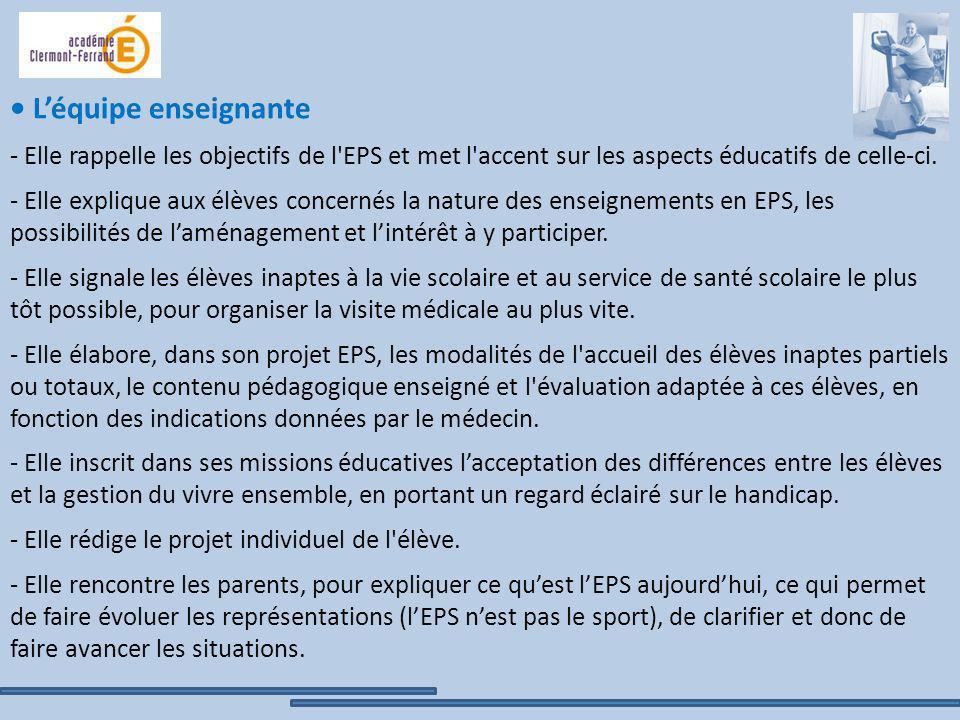 Léquipe enseignante - Elle rappelle les objectifs de l'EPS et met l'accent sur les aspects éducatifs de celle-ci. - Elle explique aux élèves concernés