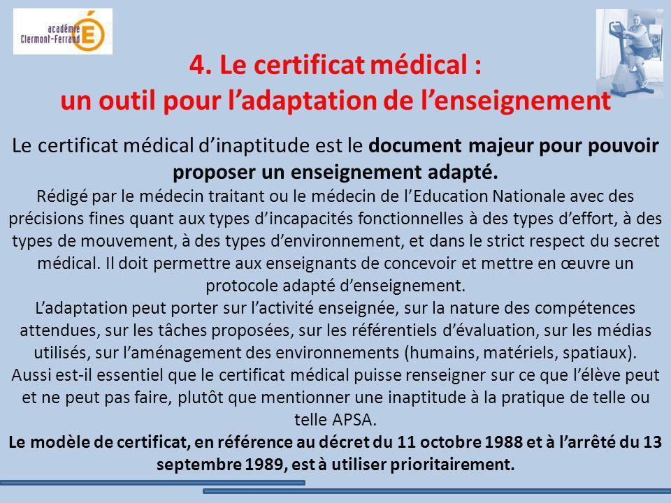 4. Le certificat médical : un outil pour ladaptation de lenseignement Le certificat médical dinaptitude est le document majeur pour pouvoir proposer u