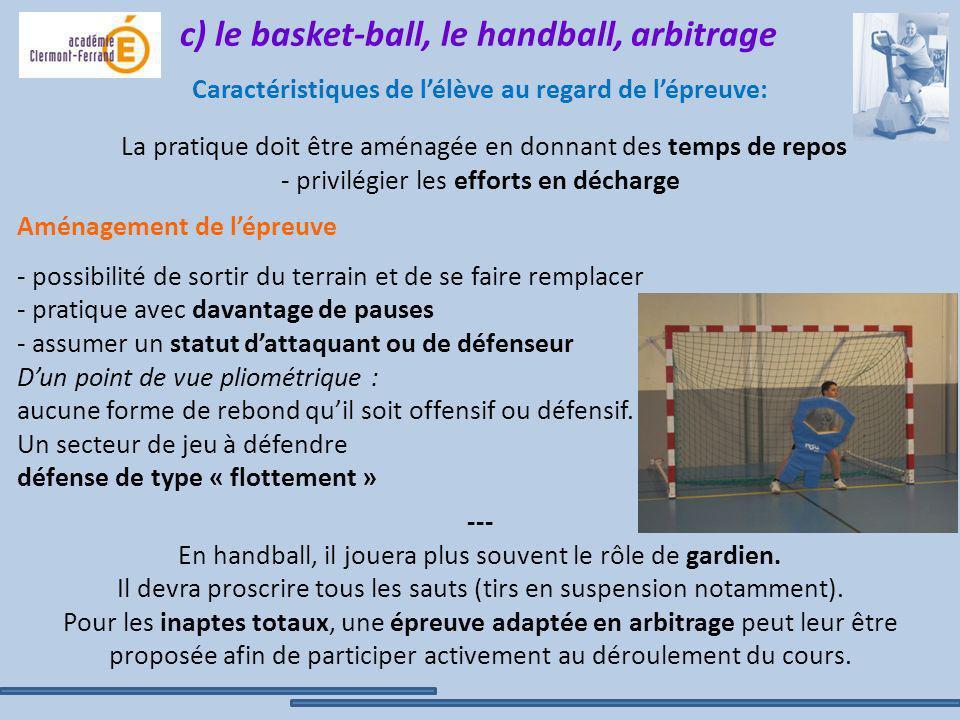 c) le basket-ball, le handball, arbitrage Caractéristiques de lélève au regard de lépreuve: La pratique doit être aménagée en donnant des temps de rep