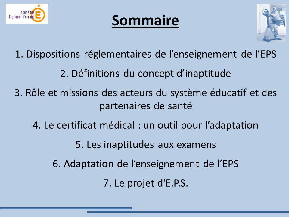 Sommaire 1. Dispositions réglementaires de lenseignement de lEPS 2. Définitions du concept dinaptitude 3. Rôle et missions des acteurs du système éduc
