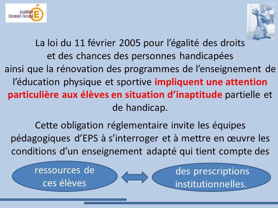 La loi du 11 février 2005 pour légalité des droits et des chances des personnes handicapées ainsi que la rénovation des programmes de lenseignement de