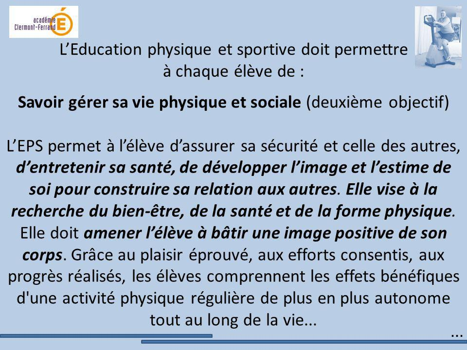 LEducation physique et sportive doit permettre à chaque élève de : Savoir gérer sa vie physique et sociale (deuxième objectif) LEPS permet à lélève da