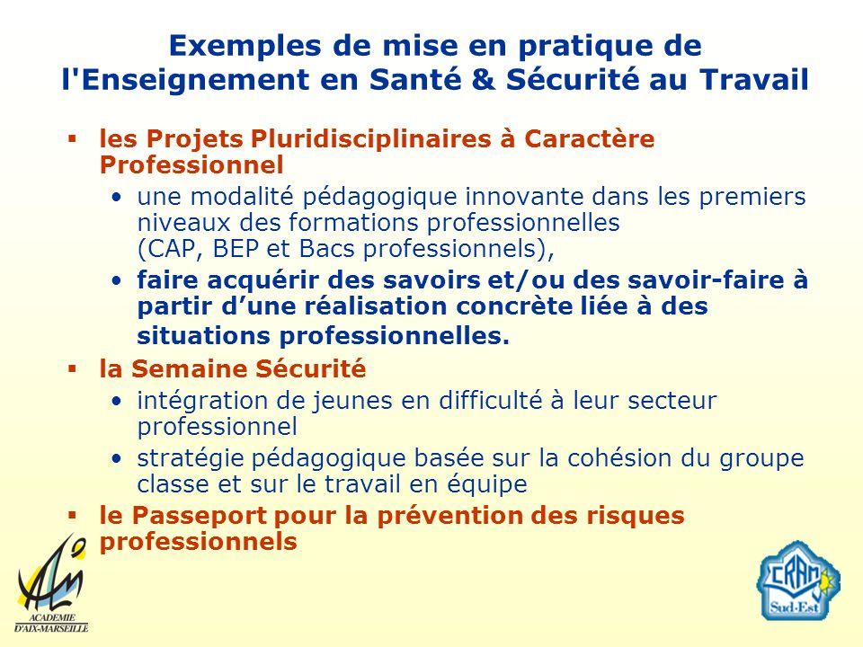 Exemples de mise en pratique de l'Enseignement en Santé & Sécurité au Travail les Projets Pluridisciplinaires à Caractère Professionnel une modalité p