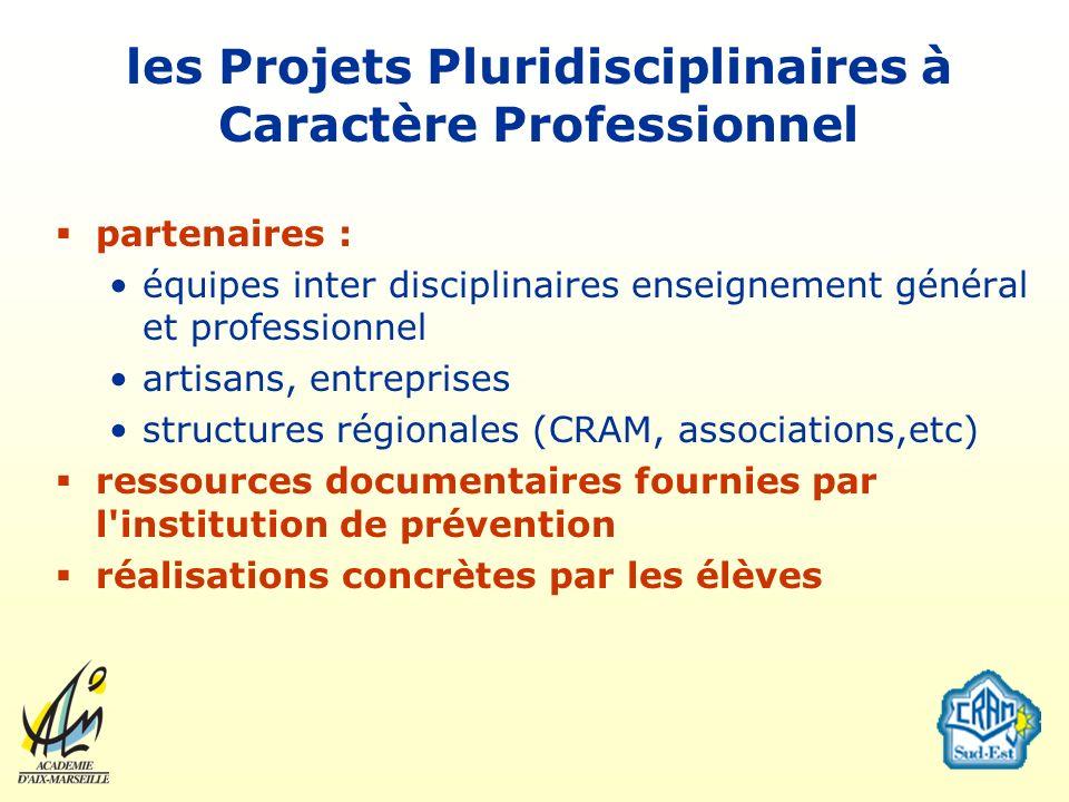 les Projets Pluridisciplinaires à Caractère Professionnel partenaires : équipes inter disciplinaires enseignement général et professionnel artisans, e