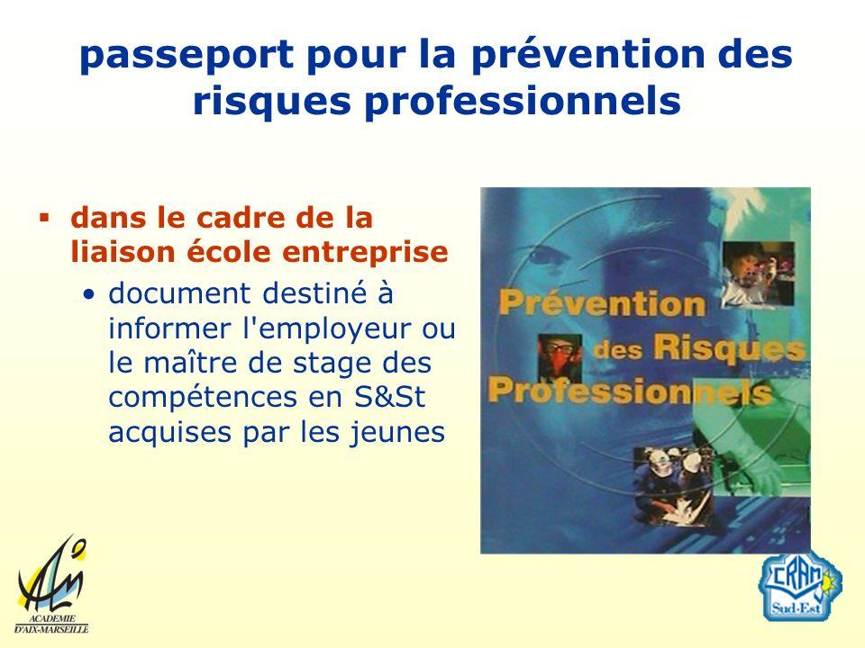 passeport pour la prévention des risques professionnels dans le cadre de la liaison école entreprise document destiné à informer l'employeur ou le maî