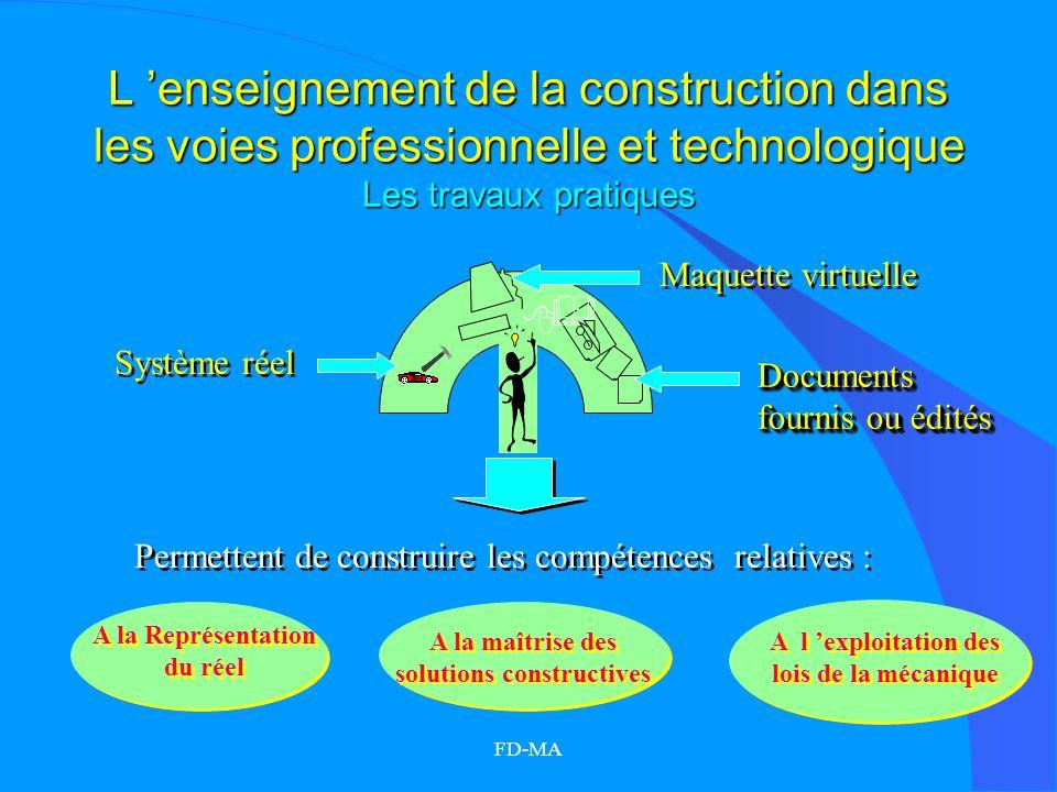 FD-MA L enseignement de la construction dans les voies professionnelle et technologique Les travaux pratiques Maquette virtuelle Système réel A la Rep